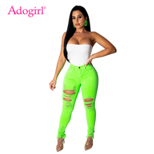 Adogirl Fluorescence Color Women Jeans Pants Highly Stretchy Holes Casual Denim Trousers Plus Size S-2XL Fashion Pencil
