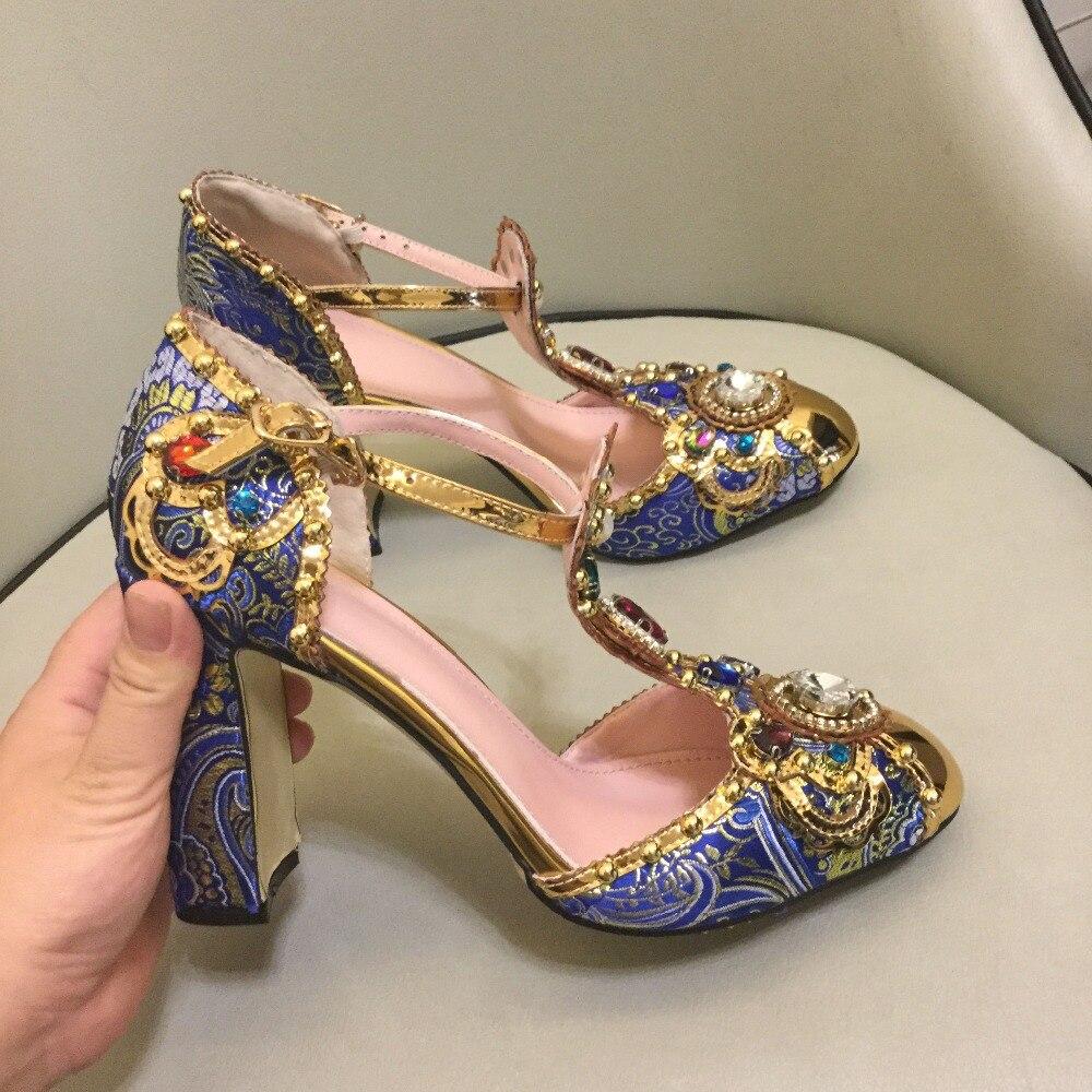 Macytino luxo artesanal pérolas bombas femininas 10 cm retro bordado bloco saltos t cinta mary janes vestido feminino sapatos dedo do pé redondo - 3