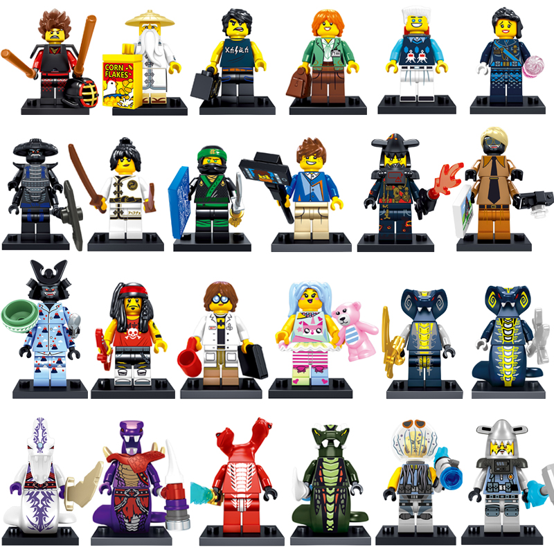2018 NEW 24PCS Compatible LegoINGlys NinjagoINGlys Movie Set Kai Jay Cole Zane Nya Lloyd Weapons Figure Blocks Toys for Children [yamala] 15pcs lot compatible legoinglys ninjagoingly cole kai jay lloyd nya skylor zane pythor chen building blocks ninja toys