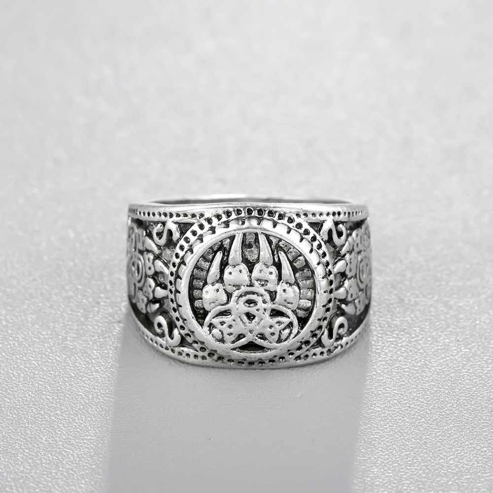 QIMING Norse, славянские бусы, мужское кольцо, женское античное серебро, медведь, волк, амулет лапа, тибетские ювелирные изделия в стиле викингов, набор амулет, кулон, подарок