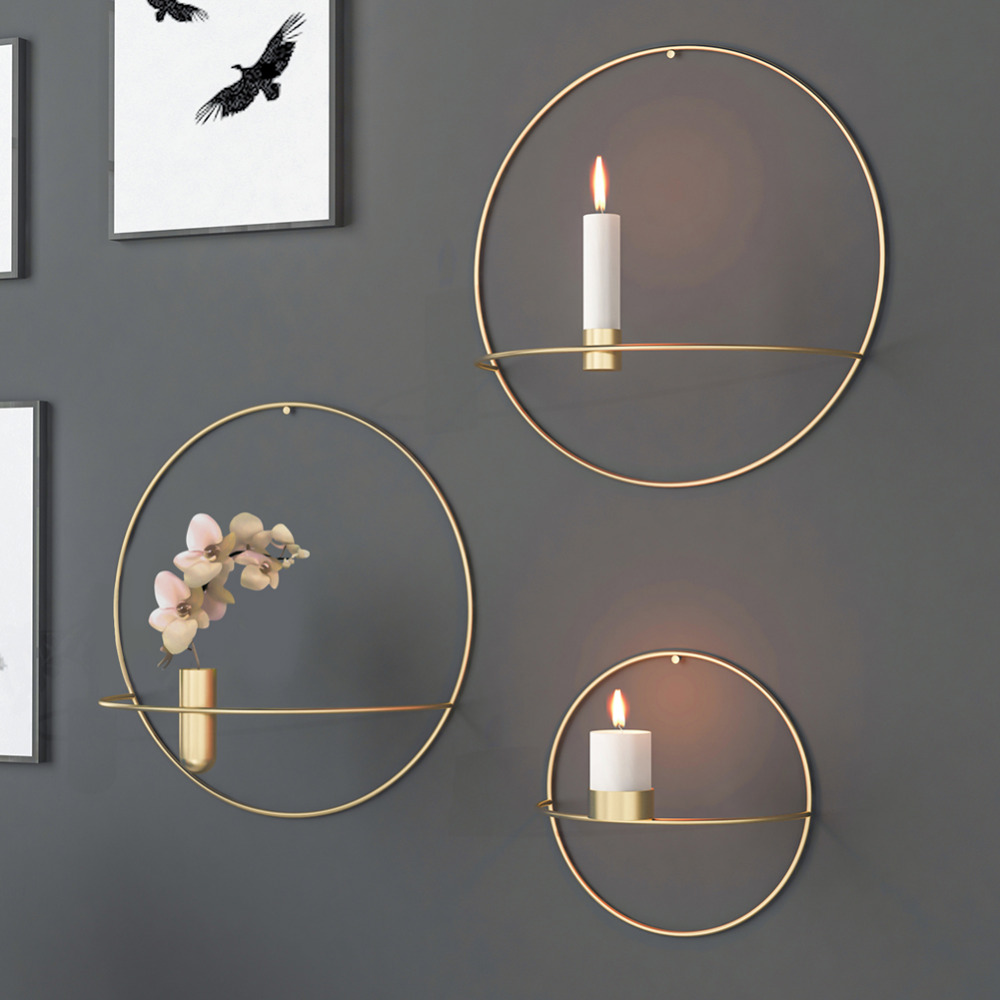 quality design ccde9 8f9b1 US $6.04 25% OFF|Nordic Style 3D Geometric Round Candlestick Metal Wall  Candle Holder Sconce Home Ornaments DIY Home Decor-in Candle Holders from  Home ...