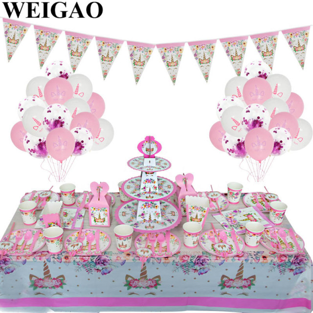 WEIGAO Unicorn Birthday Party Decorations Kids Cartoon Horse Disposable Tableware Sets 1st Paper Cup Hat Napkins Favors