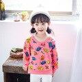 2017 весна Граффити дети футболки с длинным рукавом хлопок печати детские девушки блузка и топы детская одежда девушка дна рубашки