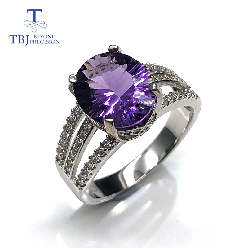 Nouveau design améthyste anneaux pierres précieuses naturelles ovale 10*12mm avec 925 en argent sterling bijoux fins cadeau d'anniversaire pour les femmes femme
