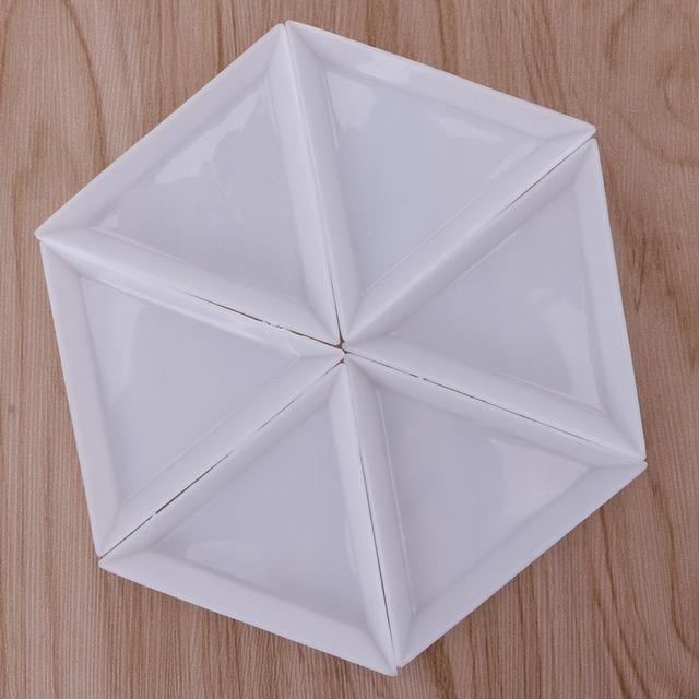 10Pcs Triangle Plastic Rhinestones Beads Crystal Nail Art Sorting Trays Accessory White