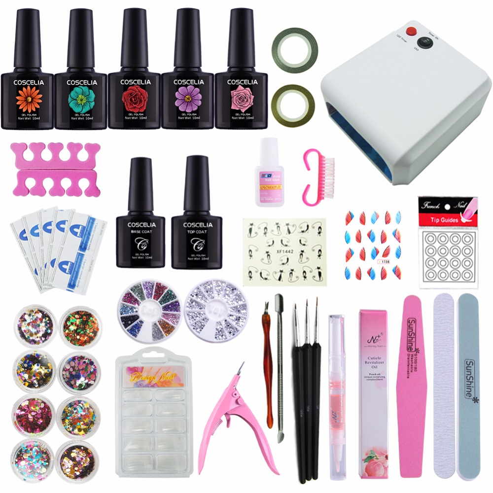 Manicure Set Gel Nail Lamp Nail Art Kits Gel Polish Top Coat And Base Nail Polish Set Nail Extension Set 36W UV Lamp LED Gel 20pcs gel nail primer top coat and base coat magnetic gel cat s eyes gel nail gelfor uv gel polish best on 15ml nail sticker