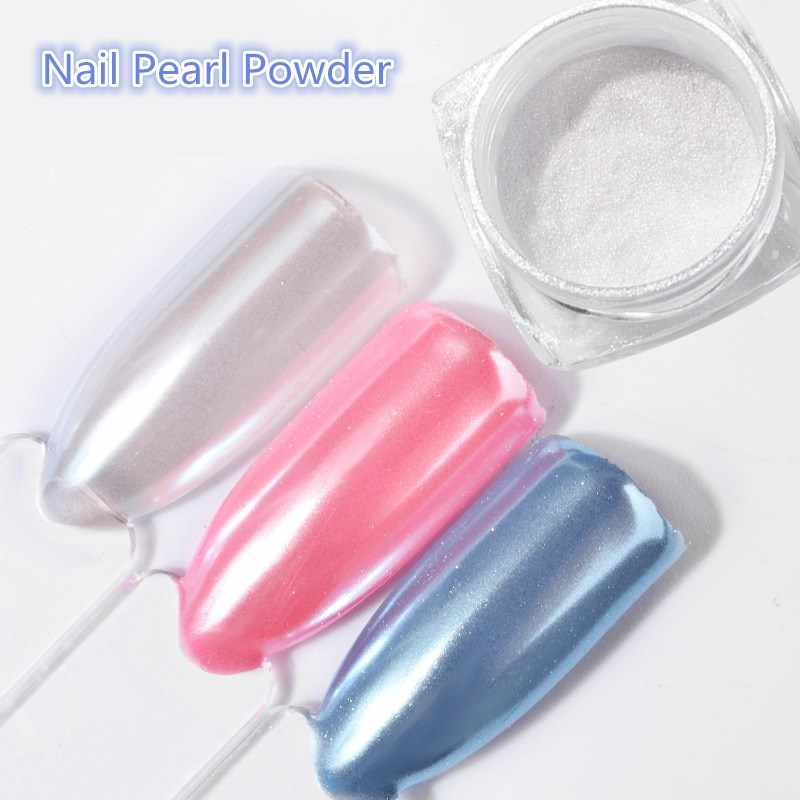 2G/Box Diamond Mermaid Pearl Mermaid Matte Shining White DIY Nail Art Glitter Chrome Powder Dust Manicure Decoration