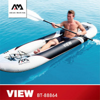 AQUA MARINA VIEW Rowing Boat Transparent Viewport Canoeing Inflatable Sport Kayak With High Back Seat Inflatable Boat 300*80cm