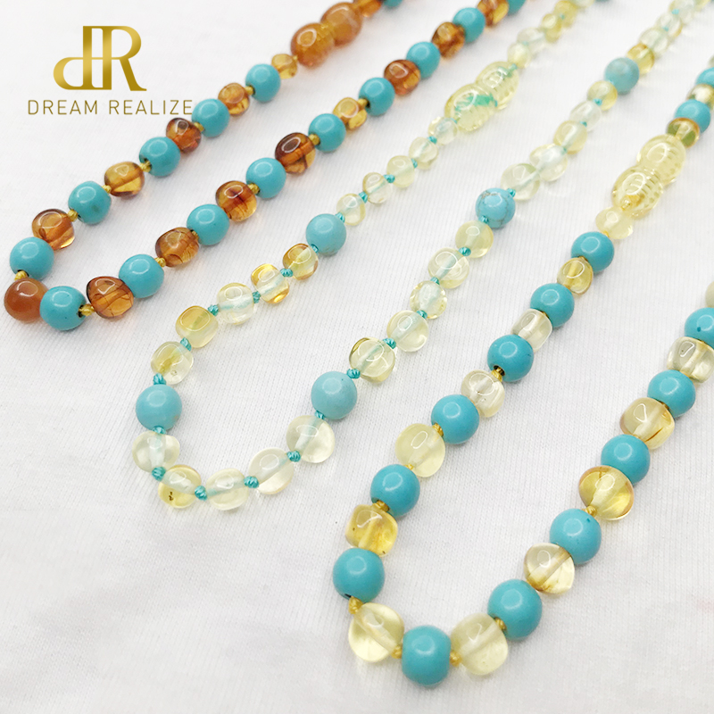 Baby Gemstone Ambar Necklace Polished Ambar Turquoise Baltic Amber Teething Necklaces for Baby Baroque Beads Jewelry for Etsy in Necklaces from Jewelry Accessories