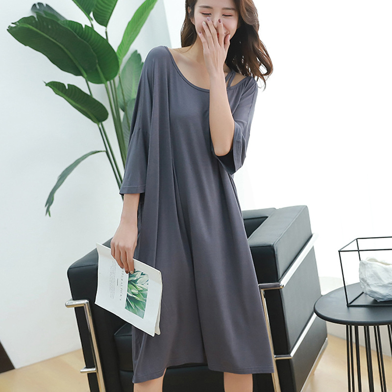 2019 summer plus size night dress women loose soft sexy strapless sleepwear   nightgowns     sleepshirts   sleepdress home outfits