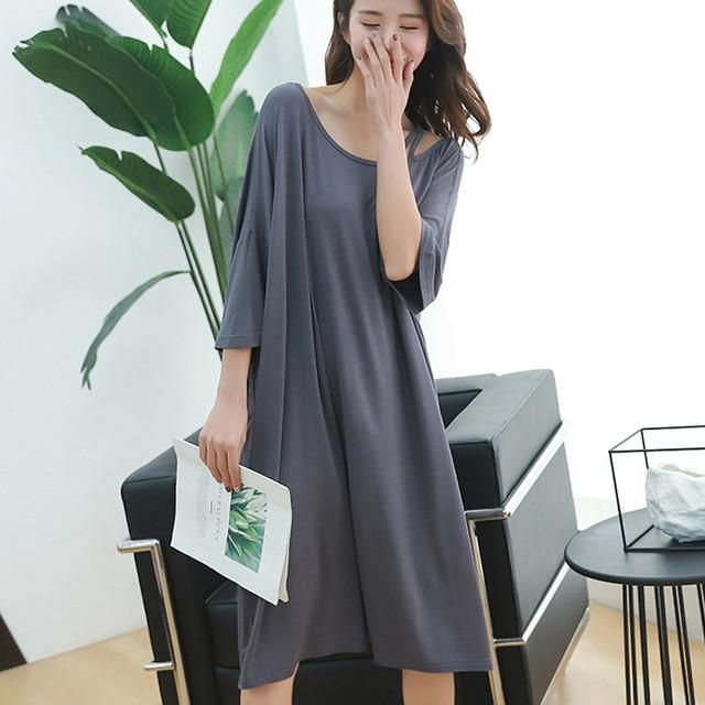 2019 summer plus size night dress women loose soft sexy strapless sleepwear nightgowns sleepshirts sleepdress home outfits