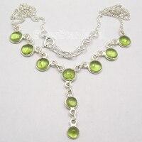 Chanti International Silver Natural PERIDOT ART Necklace JEWELRY 17 7/8 FACTORY DIRECT
