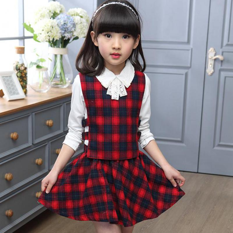 Girls Clothing Set Autumn Girls Plaid Blouses + Vest + Skirts 3 PCS Back to School Uniform Teenage Girls Clothes Sets 12 13 14 T цены