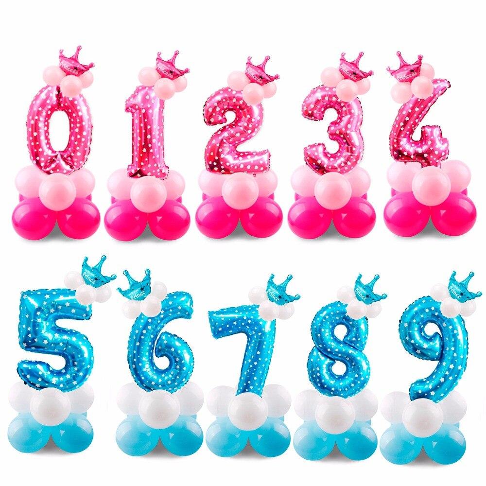 17PCS Blue Pink Number Balloon Happy Birthday Balloon Birthday Party Decoration Kids Boy ...