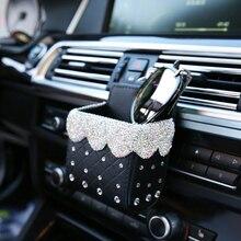 С украшениями в виде кристаллов со стразами автомобиля, устанавливаемое на вентиляционное отверстие в салоне автомобиля карманная сумка ящик для хранения Организатор Универсальный Кожа Авто Чехлы для мобильного телефона, очков держатель
