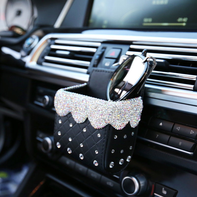 Bling Crystal Rhinestone Car Air Vent Pocket Bag Box Storage Organizer Universal leather Auto Car Mobile Phone Glasses Holder executive car
