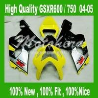 Amarillo cuerpo de plata negro para SUZUKI GSXR 600 K4 04 05 GSX-R600 GSX-R750 04 05 GSXR600 04 05 GSXR 750 K4 ABS carenado kits #45l5