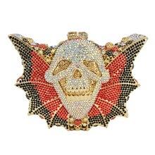 Luxus kristall handtasche frauen abendtaschen bat form Hallowmas schädel tasche diamant prom party Geldbörse bling handtaschen SC115