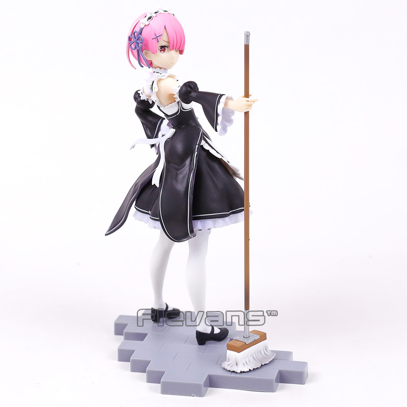 Re Life In A Different World From Zero Ram Maid with Mop Ver. PVC Figure Collectible Model Toy 22cm anime figure re life in a different world from zero rem maid ver pvc action figure collectible model toys doll 17cm