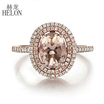 1f422f17431b Helon sólido 10 K oro rosa 6x8mm oval 1.3ct morganite natural anillo de  compromiso de