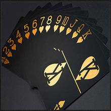 Professional Customization Black Gilt Personalized Waterproof Magic Plastic Playing Cards Creative Gift Standard