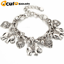 Vintage Elephant Pendant Anklet Bracelet 2019 Fashion Brand Jewelry For Women Foot Chain Ethnic Plated Metal Heart Anklets