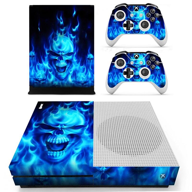 HOMEREALLY For Xbox one S Skin Blue Skull Flame Custom