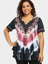 cf812f5673bc0 Wipalo Plus Size 5XL Tie Dye T-Shirt Summer V Neck Short Sleeve Lace Women  Clothing