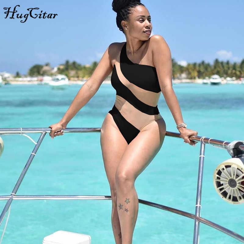Hugcitar malla patchwork sexy bodysuit 2019 verano Mujer ajustado vacaciones traje de baño club body outfits
