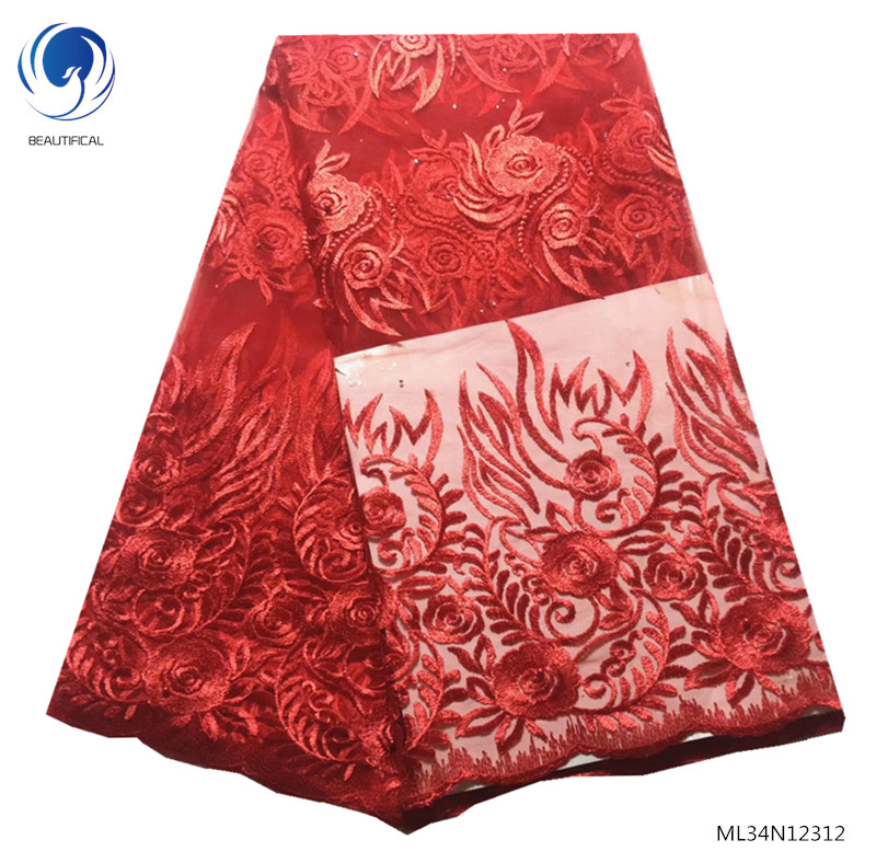 BEAUTIFICAL french net red lace fabric embroidered fabric high quality flowers styles african french lace 5 yards/lot ML34N123BEAUTIFICAL french net red lace fabric embroidered fabric high quality flowers styles african french lace 5 yards/lot ML34N123