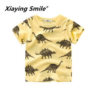 Xiaying Smile Summer 2019 Boys' Wear New Kids' Short Sleeve T shirt Pure Cotton Fashion baby clothes can be wholesaled