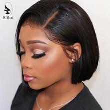 Alibd парик на кружеве прямые человеческие волосы боб парик 1B серый 613 блонд 130% плотность бразильские волосы remy парики для черной женщины