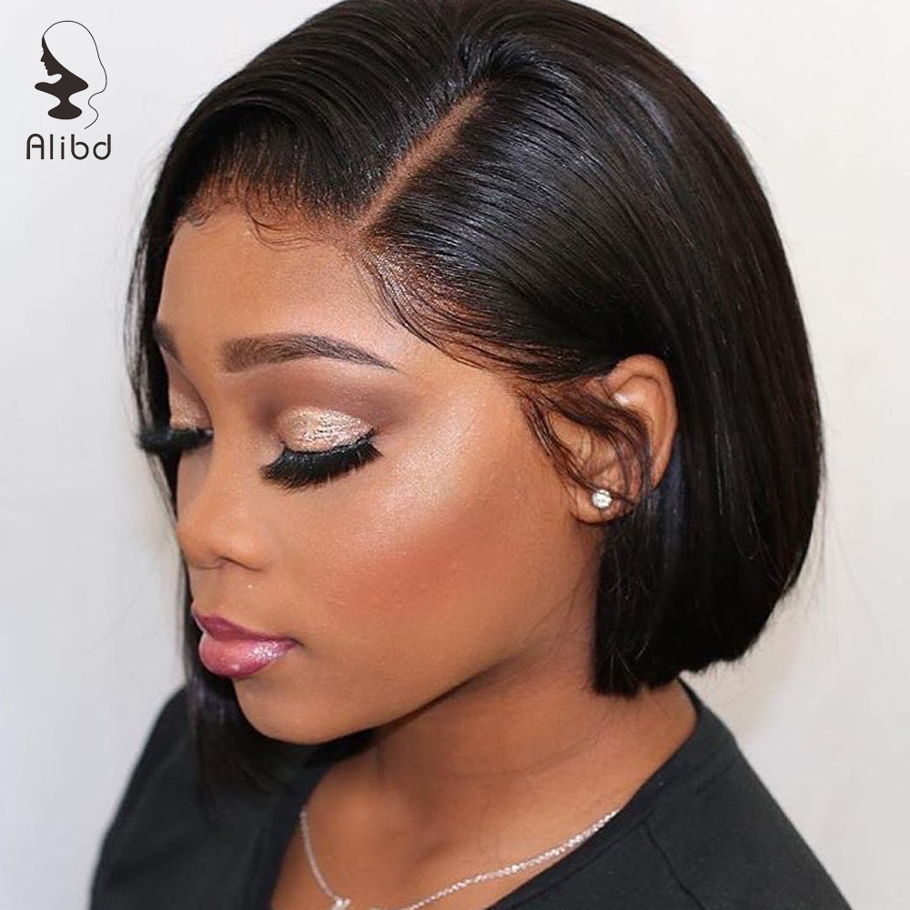 Alibd Lace Front Wig Straight Human Hair Bob Wig 1B Grey 613 Blonde 130% Density Brazilian Remy Hair Bob Wigs For Black Woman