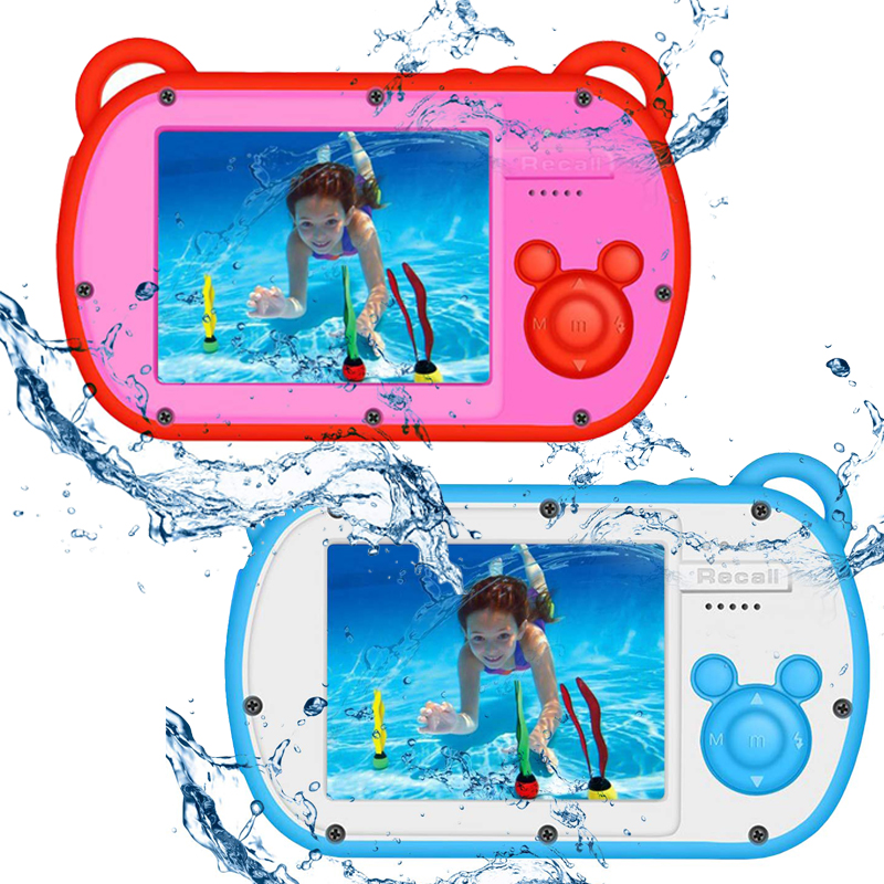 Kamera für Kinder 1080P Wasserdichte Kamera, Video Recorder Action Vorschule Kamera 8X <font><b>Digital</b></font> Zoom mit Flash Mikrofon Aufkleber image