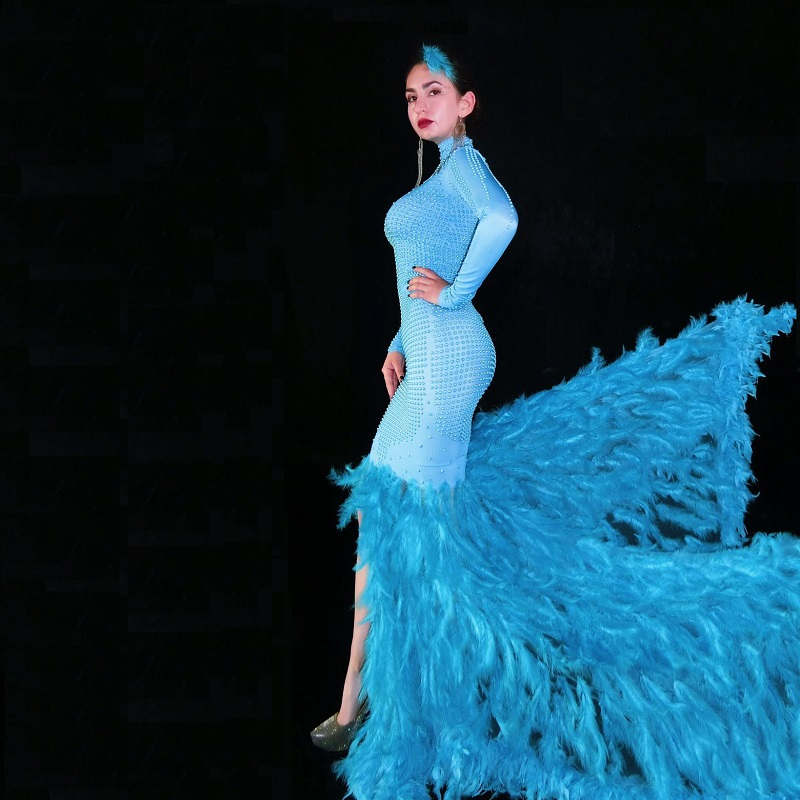 Mode cristaux maille robe strass Sexy Stretch scène danse porter soirée célébrer franges robe Costume - 5