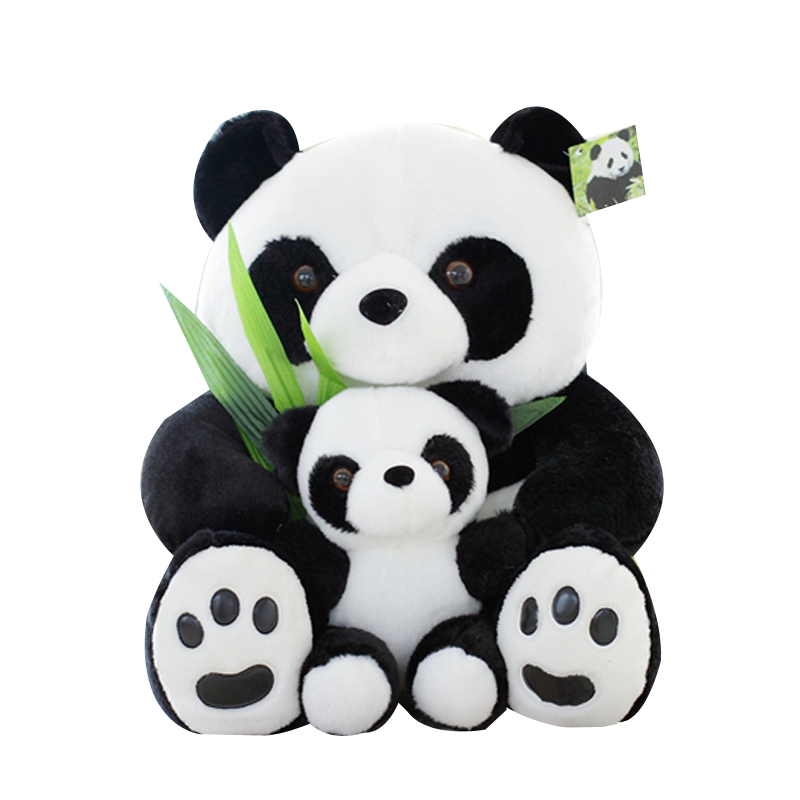 25cm Good Quality Sitting Mother and Baby Panda Plush Toys Stuffed Panda Dolls Soft Pillows Kids Toys Free Shipping
