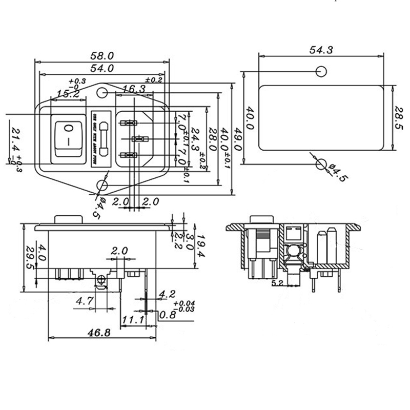 Power Rocker Switch IEC 3 Pin 320 C14 Inlet Power Sockets