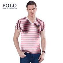 Royal Queen's Paul Team brand 2017 Stretch Slim Short Sleeve T-Shirt Men's Fashion Striped V-neck Short Sleeve Men's tee Shirt