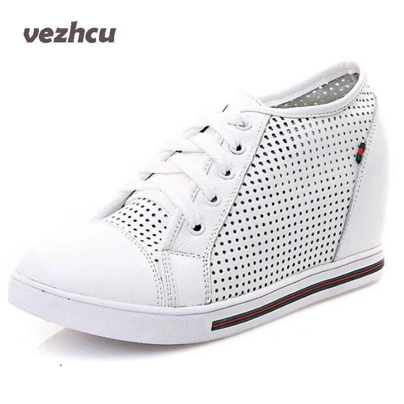 0ec78ad30a VZEHCU Sapatos Mulher Verão Respirável Genuíno Couro De Rendas Até Cunhas Sapatos  Sapatos de Plataforma Do Vintage Da Moda Mulher Preto Branco 4d12