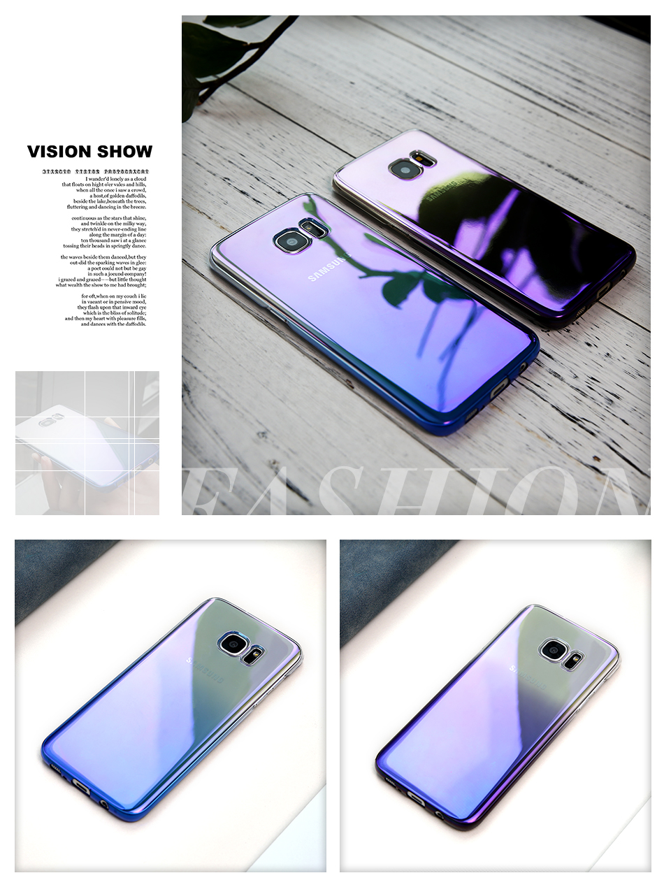 FLOVEME Cool Blue Ray Plastic Case For Smausng Galaxy S7  S7 Edge  S8  S8 Edge  S6  S6 Edge Gradient Color Plated Cover (2)