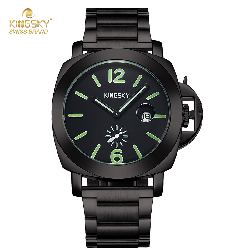 Fashion Men Quartz Watch KINGSKY Male Watches Fashion Small Dial Japan Movement With Calendar Wrist Clock For Man 2017 New fashion full steel black white dial wrist watch watches business elegant quartz watches for men male women ladies with calendar