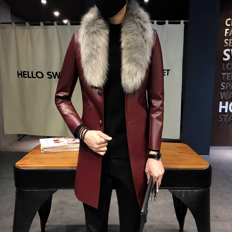 2018 Mens Long Leather Trench Coats Black Long Coat Mens Burgundy Erkek Palto Fur Collar Luxury Gold Long Men Overcoats Slim Fit