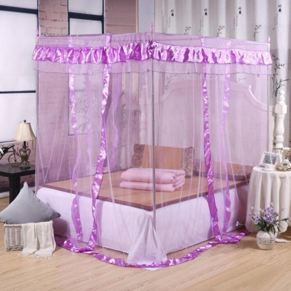 moustiquaire quatre coin poste double lit klamboe moustiquaire rideau lit auvents adultes. Black Bedroom Furniture Sets. Home Design Ideas