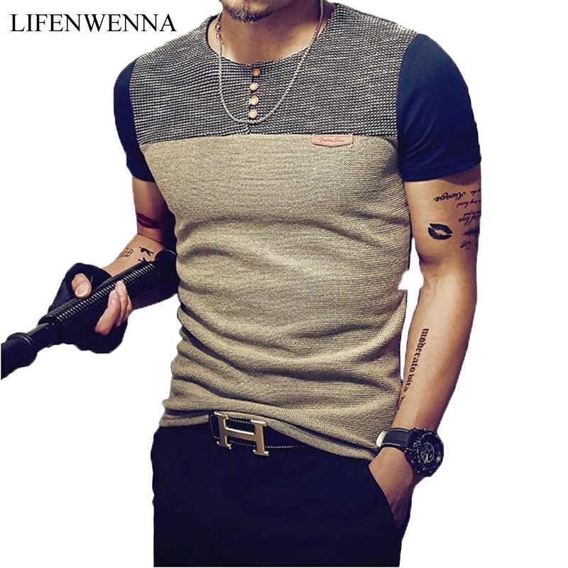 여름 패션 남자 티셔츠 캐주얼 패치 워크 반소매 티셔츠 남성 의류 트렌드 캐주얼 슬림 피트 힙합 탑 티 5XL