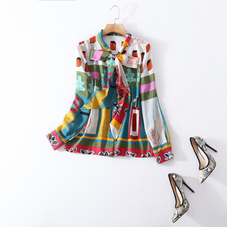 European and American women's wear in 2018 The new spring Long sleeve Silk scarf collar Geometry of the printing Silk shirt