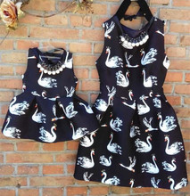 Spring and summer one-piece dress family fashion spring princess dress plus size swan dress