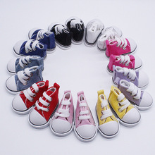 One pair Assorted Color 5cm Canvas Shoes For BJD Doll Fashion Mini Toy Shoes Sneaker Bjd Doll Shoes for Russian Hand Made Doll 1pair 2pcs 3 5cm fashion plastic doll shoescsuit for blythe licca jb bjd dolls accessory toy parts
