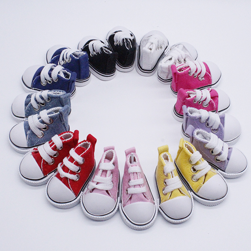 One pair Assorted Color 5cm Canvas Shoes For BJD Doll Fashion Mini Toy Shoes Sneaker Bjd Doll Shoes for Russian Hand Made Doll image