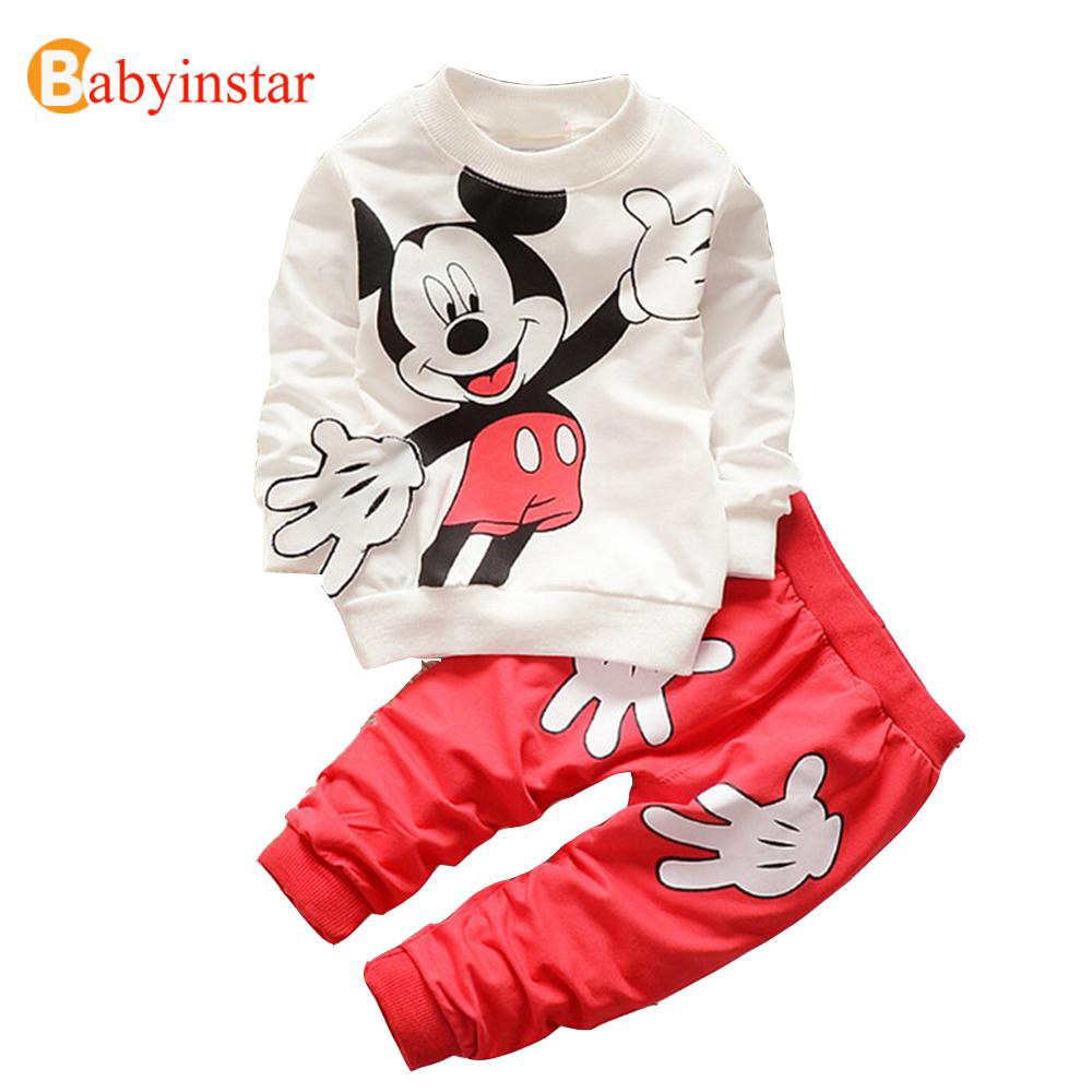 2017 New Spring Autumn Kids Girl Boy Clothing Set Cartoon Mouse Cotton Sport Girls Clothes Long Sleeve Fashion Children Suit Set