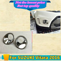 High Quality car body front fog light lamp detector frame stick styling ABS Chrome cover trim parts 2pcs for SUZUK1 Vitara 2016